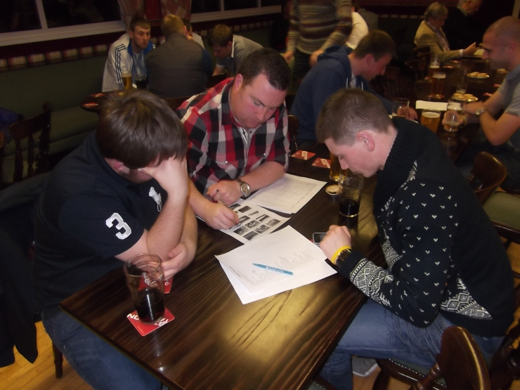 L-R Jack Herriot, Kieran Downey and Stephen Dial looking determined to win the quiz.