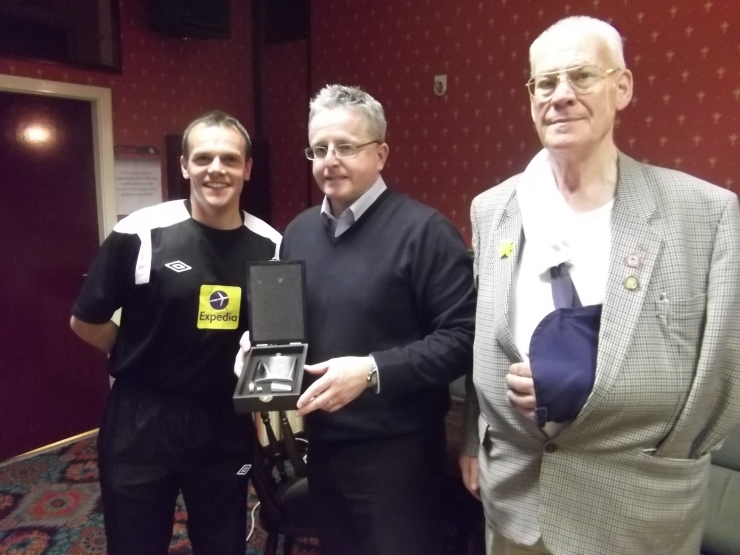 Colin with his memento of the night with Geoff Eltringham (Chairman) and Ken Barker (V.Chairman)