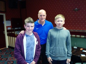 Guest speaker Nigel Miller (centre) with recently qualified and newest members Ryan Bird (left) and Scott Cain (right).