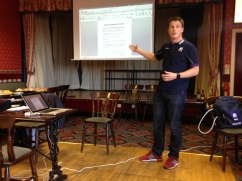 Sam explaining the procedures and plans for Rugby Union match referees